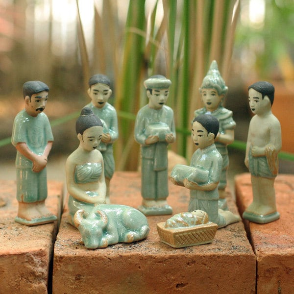 Thai Christmas Unique Christian Theme Green Crackled Celadon Handmade 9 Piece Religious Art Work (Thailand)