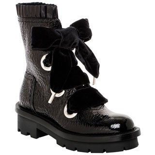 Alexander McQueen Textured Patent Leather Combat Boots