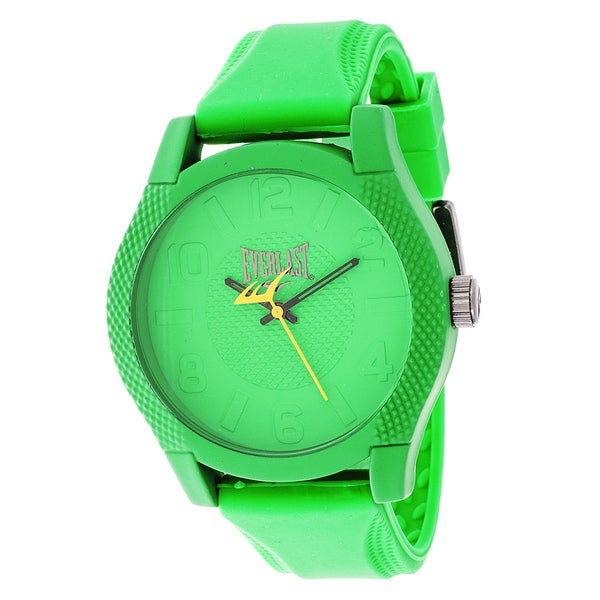 Everlast Sport Men's Dialog Round Watch with Green Rubber Strap - Free ...