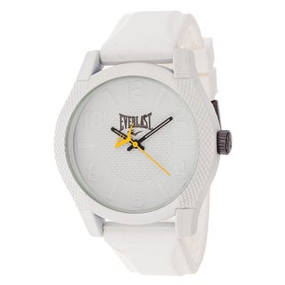 Everlast Sport Men's Dialog Round Watch with White Rubber Strap