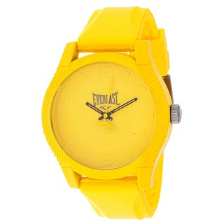 Everlast Sport Men's Dialog Round Watch with Yellow Rubber Strap