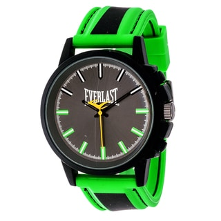 Everlast Sport Men's Analog Round Watch with Green Rubber Strap