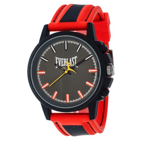 Everlast Sport Men's Analog Round Watch with Red Rubber Strap