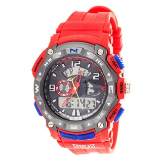 Everlast Diverse Sport Men's Dialog Round Watch with Red Rubber Strap