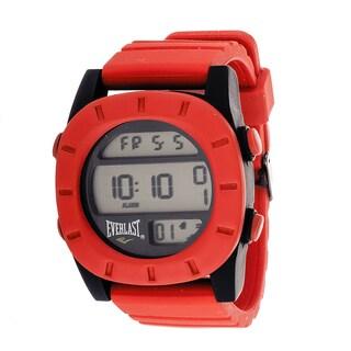 Everlast Sport Men's Digital Round Watch with Red Rubber Strap