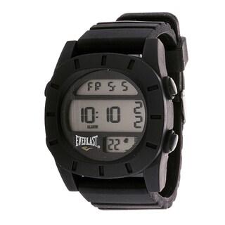 Everlast Sport Men's Digital Round Watch with Black Rubber Strap