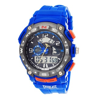 Everlast Diverse Sport Men's Dialog Round Watch with Blue Rubber Strap