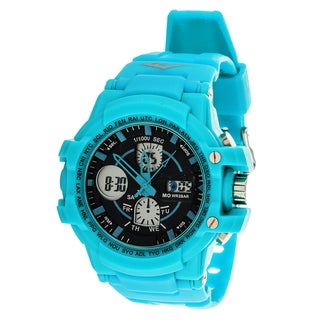 Everlast Sport Men's Analog Digital Round Watch with Turquoise Rubber Strap
