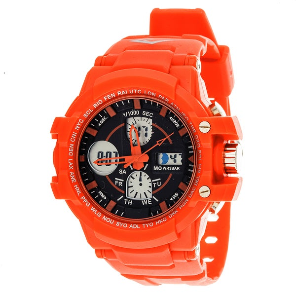 Everlast Sport Men's Analog Digital Round Watch with Red Rubber Strap