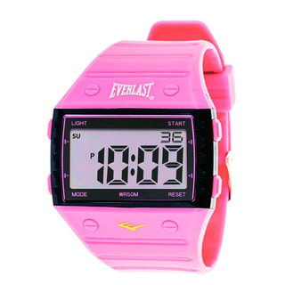 Everlast Sport Men's Square Watch with Pink Rubber Strap