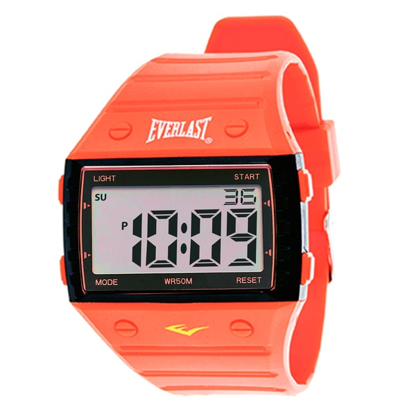 Everlast Sport Men's Square Watch with Red Rubber Strap