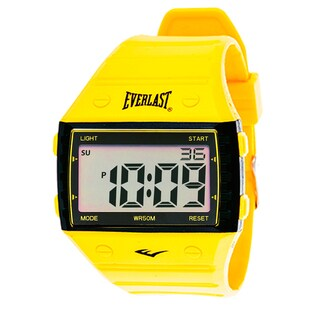 Everlast Sport Men's Square Watch with Yellow Rubber Strap
