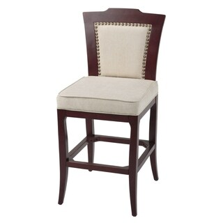 Springfield Wood Barstool with Oatmeal Upholstered Seat
