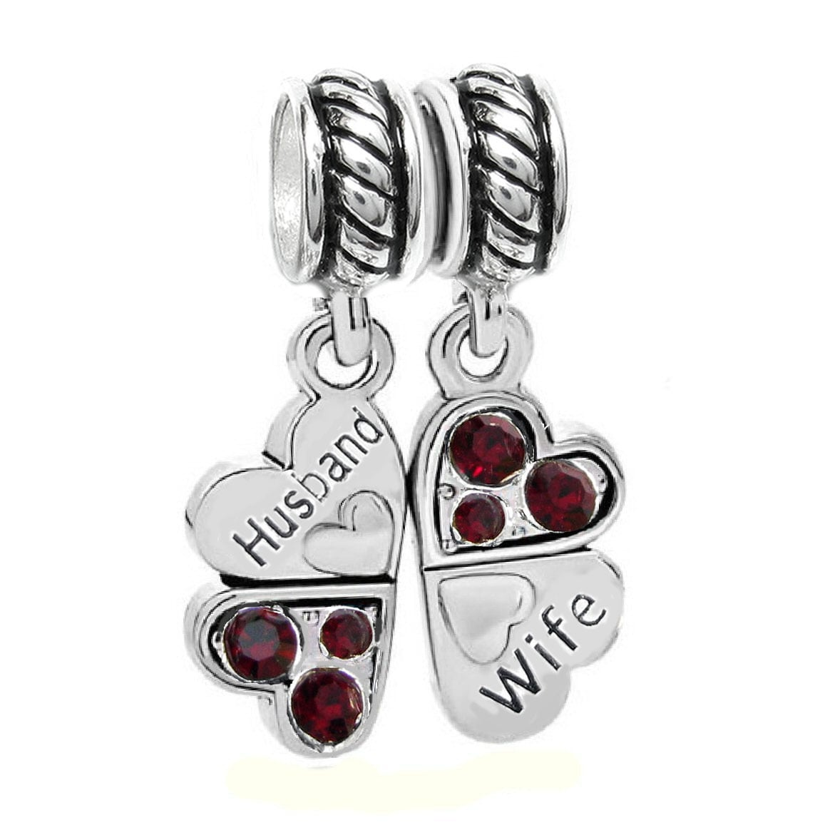 Queenberry Sterling Silver 'Husband Wife Love' Heart Red ...