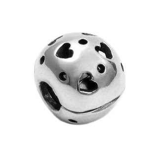 Queenberry Sterling Silver Lots of Hearts with Love Stopper Lock Clasp Clip for European Bead Charm