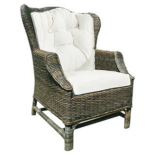 Handmade D-Art Rattan Wicker Wing Back Chair (Indonesia)