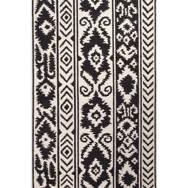 Handmade Indo Flat Weave Tribal Pattern White Black Wool Area Rug 8 X27