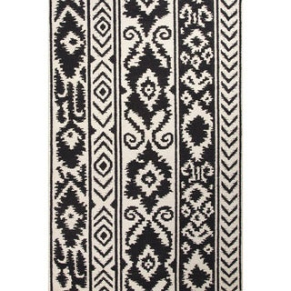 Flat Weave Tribal Pattern White/ Black Wool Area Rug (8' x 10')