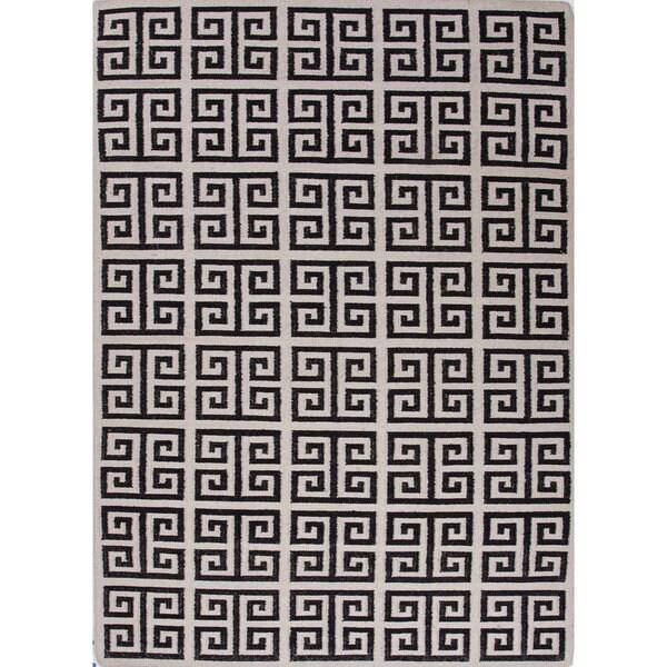 Aminta Handmade Geometric White/ Black Area Rug (9' X 12')