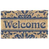 Hand-woven Damask Welcome Coconut Fiber Doormat