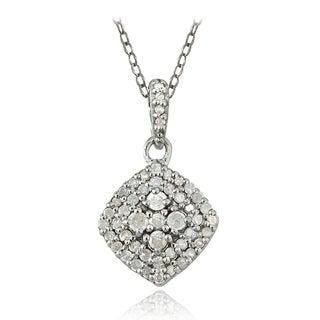 DB Designs Silver 1/3ct TDW Diamond Square Necklace (I-J, I2-I3)