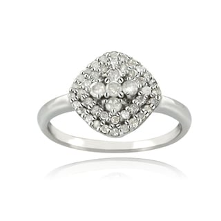 DB Designs Silver 1/3ct TDW Diamond Square Ring (I-J, I2-I3)