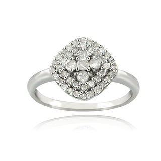 DB Designs Silver 1/3ct TDW Diamond Square Ring (I-J, I2-I3)