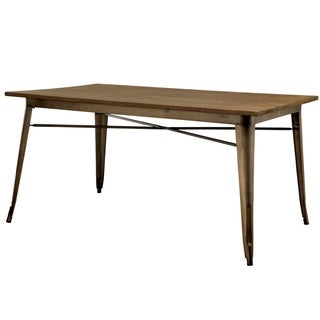 Furniture of America Rish Industrial Brown 60-inch Metal Dining Table - Natural