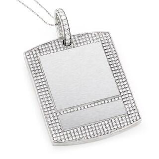 14k White Gold Large 15.24ct TDW Diamond Dog Tag Luxurman Pendant Necklace (G-H, VS1-VS2)