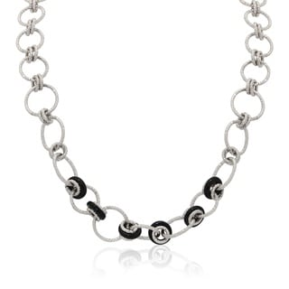 Sterling Silver Diamond-Cut Circles With Black Glass Chain Necklace
