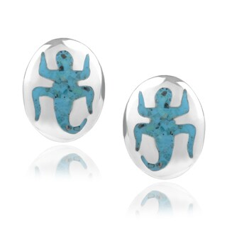 Journee Collection Sterling Silver Turquoise Gecko Stud Earrings