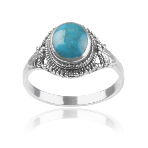 Journee Collection Sterling Silver Leaf Turquoise Ring