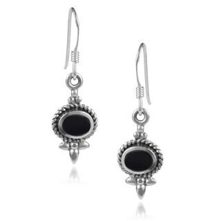 Journee Collection Sterling Silver Gemstone Oval Dangle Earrings