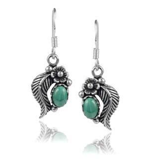 Journee Collection Sterling Silver Gemstone Flower Dangle Earrings