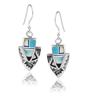 Journee Collection Sterling Silver Turquoise Geometric Dangle Earrings