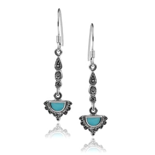 Journee Collection Sterling Silver Half-circle Turquoise Dangle Earrings