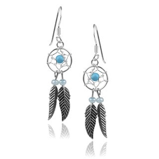 Journee Collection Sterling Silver Turquoise Dreamcatcher Dangle Earrings