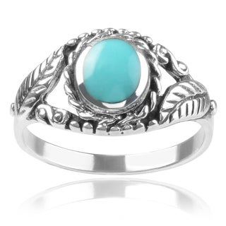 Journee Collection Sterling Silver Turquoise Leaf Ring