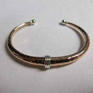 Handcrafted Pumped Copper with Hammered Finish and Three Silver Rings Cuff Bracelet (Mexico)