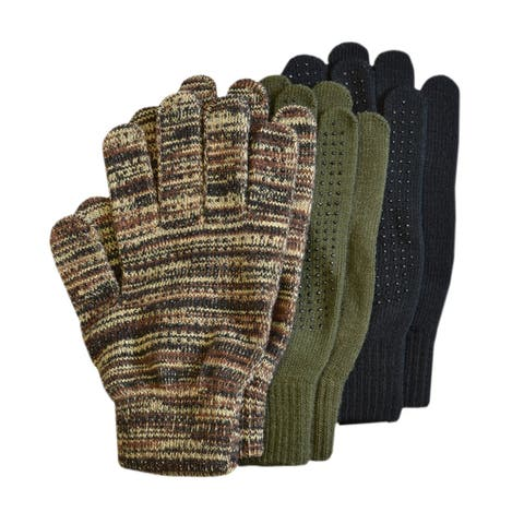 QuietWear Grip Dot Assorted Color Gloves (Pack of 3 Pair)