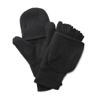 QuietWear Insulated Black Fleece Flip Mitten