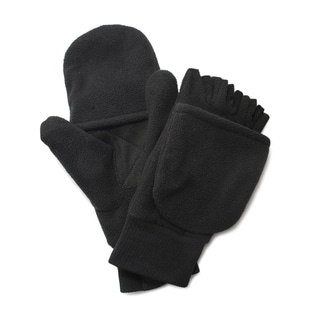QuietWear Insulated Black Fleece Flip Mitten