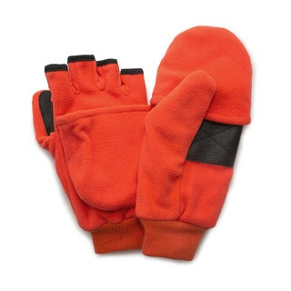 QuietWear Blaze Orange Insulated Fleece Flip Mitten