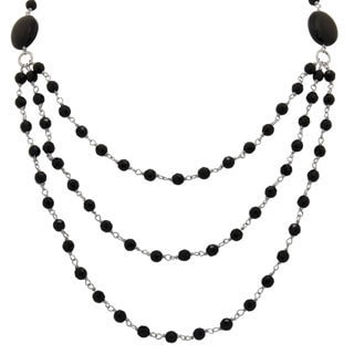 Sterling Silver Faceted Black Onyx 3-row Necklace
