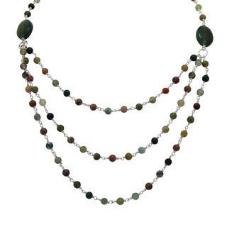 Sterling Silver Jasper Beaded 3-row Necklace