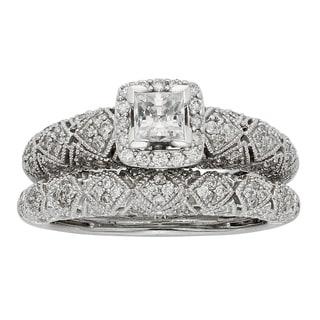 Sofia Art Deco 14k White Gold 1ct TDW Certified Diamond Bridal Set (H-I, I1-I2)