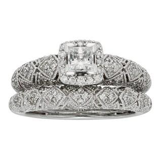 Sofia Art Deco 14k White Gold 1ct TDW IGL Certified Diamond Bridal Set