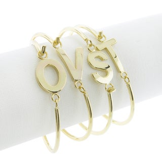 Eternally Haute Goldplated Initial Bangle Bracelet (More options available)