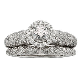 Sofia Art Deco 14k White Gold 1ct TDW Certified Princess-cut Diamond Bridal Set (H-I, I1-I2)