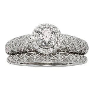 Sofia Art Deco 14k White Gold 1ct TDW IGL Certified Princess-cut Diamond Bridal Set